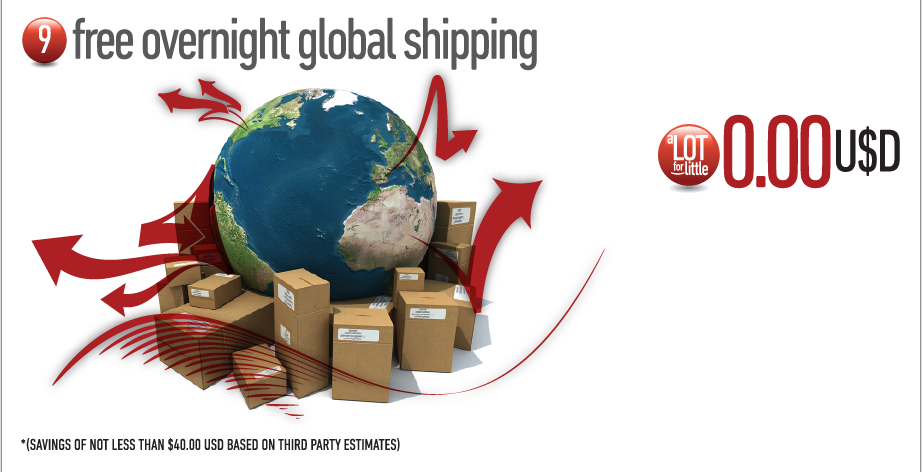 8. Free overnight global shipping